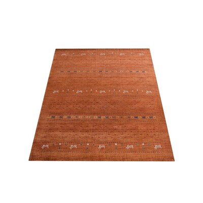 Maggiemae Hand Knotted Loom Wool Orange Area Rug Rug Size: 8 x 10