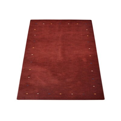 Ry Hand Knotted Loom Wool Dark Red Area Rug