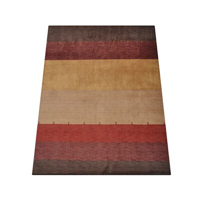 Ry Hand Knotted Loom Wool RedBrown Area Rug Rug Size: 6 x 9