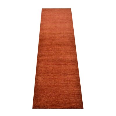 Ry Hand Knotted Loom Wool Light Red Runner Rug