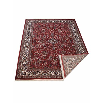 Shephard Hand-Knotted Wool Red Area Rug Rug Size: 83 x 116