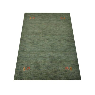 Maggiemae Hand Knotted Wool Green Area Rug
