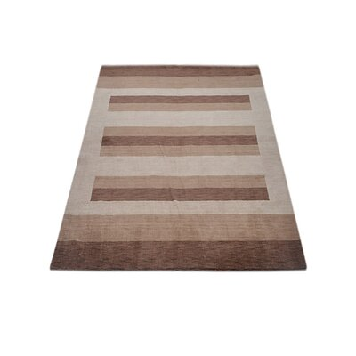 Ry Hand Knotted Loom Wool BrownLight Beige Area Rug Rug Size: 5 x 8