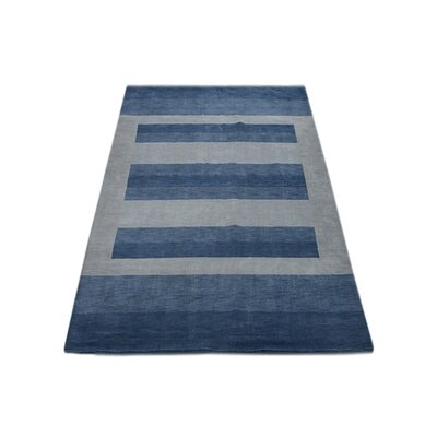 Ry Hand Knotted Loom Wool Light Blue Area Rug Rug Size: 6 x 9