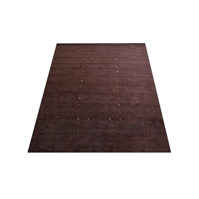 Maggiemae Modern Hand Knotted Loom Wool Brown Area Rug