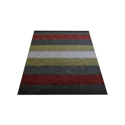 Ry Hand Knotted Loom Wool GreyRed Area Rug Rug Size: 6 x 9