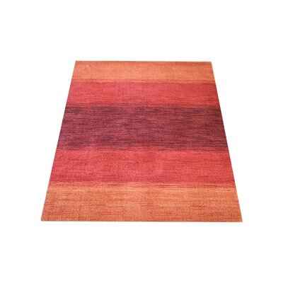Seamons Hand Knotted Loom Wool OrangeRed Area Rug Rug Size: 9 x 12