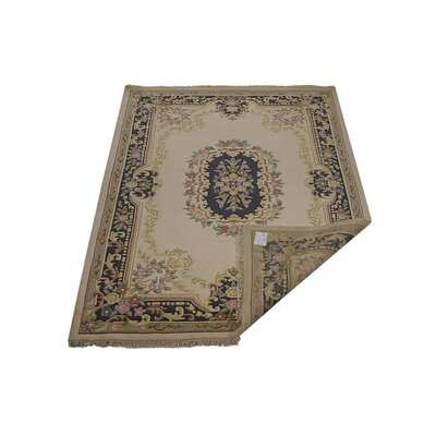 Shephard Hand-Knotted Wool Ivory/Blue Area Rug Rug Size: 6'4