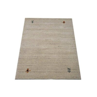 Maggiemae Hand Knotted Loom Rectangle Wool Beige Area Rug