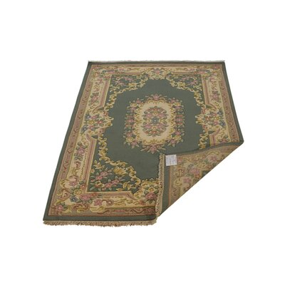 Shephard Hand-Knotted Wool Green Area Rug Rug Size: 5 x 8