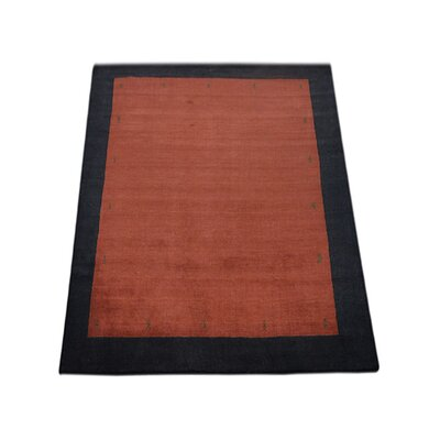 Ry Hand Knotted Loom Wool RedBlack Area Rug Rug Size: 5 x 8