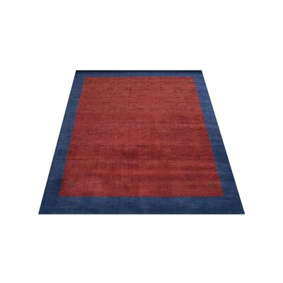 Ry Hand Knotted Loom Wool RedBlue Area Rug