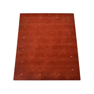 Ry Hand Knotted Loom Rectangle Wool Orange Area Rug