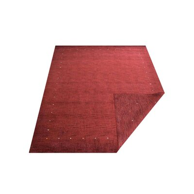 Ry Hand Knotted Loom Rectangle Flat Surface Wool Red Area Rug