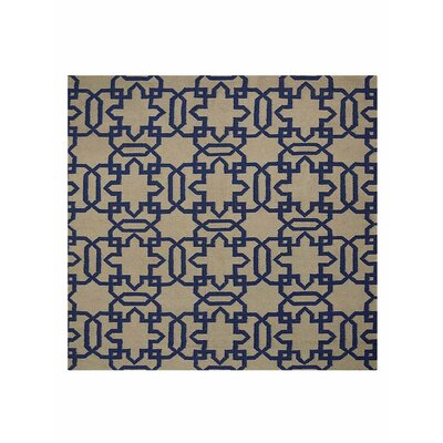 Browner Flat Weave Hand Knotted Wool Cream/Blue Indoor Area Rug