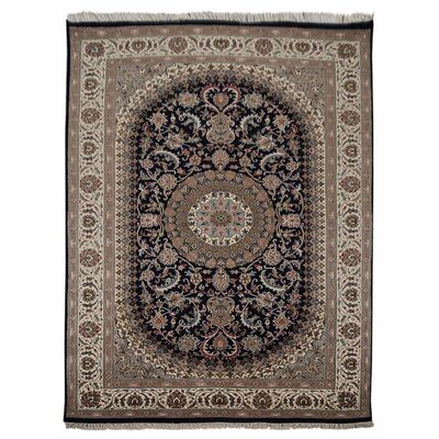 Marathon Hand Knotted Isfahan Wool Blue Area Rug Rug Size: 64 x 97