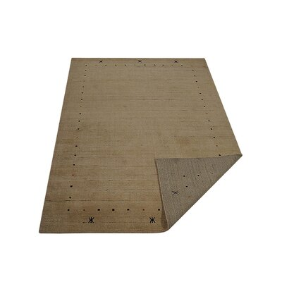 Maggiemae Hand Knotted Loom Flat Surface Wool Beige Area Rug