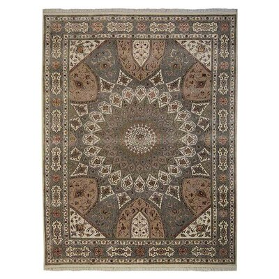 Marathon Hand-Knotted Wool Cream/Light Blue Area Rug
