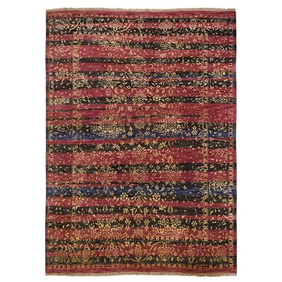 Ry Hand Knotted Persian Wool RedBlack Area Rug