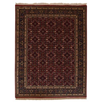 Shephard Hand Knotted Nir Rectangle Wool Red Area Rug Rug Size: 64 x 97