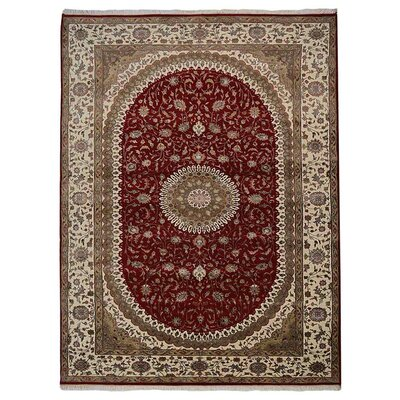 Shephard Persian Hand Knotted Wool RedCream Area Rug