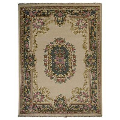 Shephard Hand Knotted Persian Wool IvoryGreen Area Rug