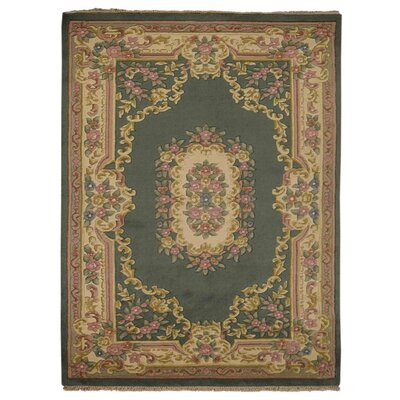 Shephard Hand Knotted Aras Wool Green Area Rug Rug Size: 64 x 97