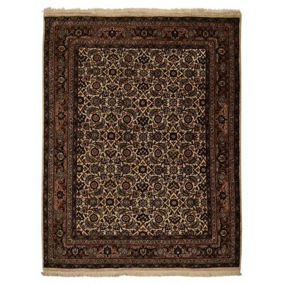 Marathon Hand Knotted Nir Flat Surface Wool Cream Area Rug Rug Size: 8 x 11