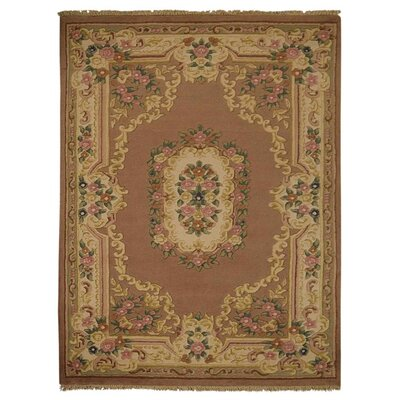 Shephard Hand Knotted Aras Wool Peach Area Rug Rug Size: 6 x 9