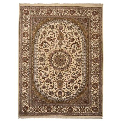 Shephard Hand Knotted Isfahan Wool Cream Area Rug Rug Size: 64 x 97