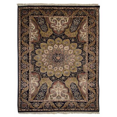 Marathon Hand Knotted Isfahan Rectangle Wool Blue Area Rug Rug Size: 64 x 97