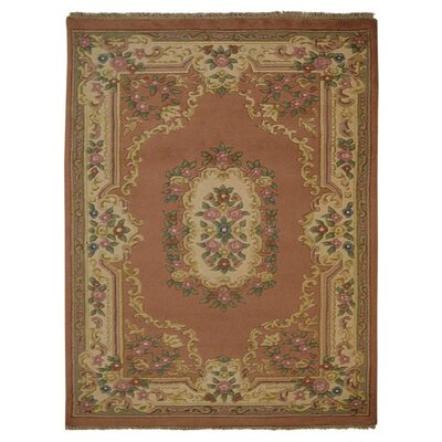 Shephard Hand Knotted Aras Wool Rose/Cream Area Rug Rug Size: 5 x 8