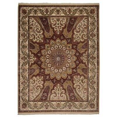 Marathon Hand Knotted Isfahan Wool Cream Area Rug Rug Size: 54 x 710