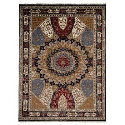 Marathon Hand Knotted Isfahan Flat Surface Wool Blue Area Rug Rug Size: 54 x 710