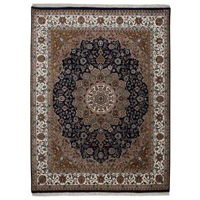 Marathon Hand Knotted Isfahan Rectangle Flat Surface Rectangle Wool Blue Area Rug Rug Size: 64 x 97