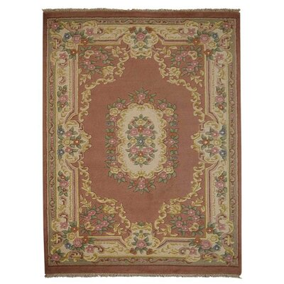 Shephard Hand Knotted Aras Wool Rose Area Rug Rug Size: 54 x 78