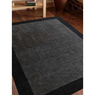 Ry Hand Knotted Loom Wool CharcoalBlack Area Rug Rug Size: 6 x 9
