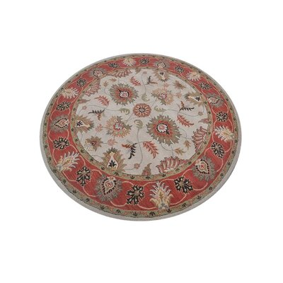 Shephard Hand-Tufted Wool Cream/Red Area Rug Rug Size: Round 10