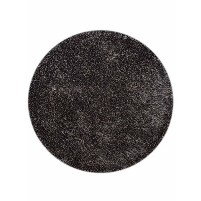 Sanford Solid Hand-Woven Silver/Black Area Rug Rug Size: Round 8