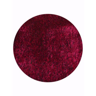 Sanford Solid Hand-Woven Violet Area Rug Rug Size: Round 8