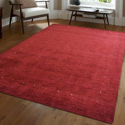 Ry Hand-Woven Wool Red Area Rug Rug Size: Rectangle 5 x 8