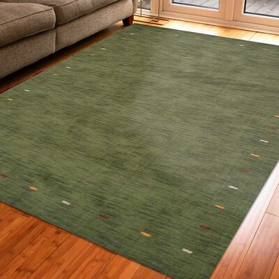 Ry Hand-Woven Wool Green Area Rug Rug Size: Rectangle 8 x 10