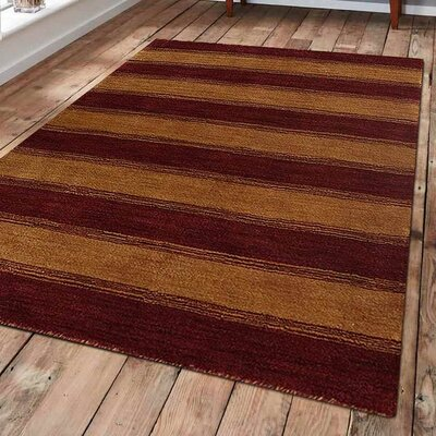Ry Hand-Woven Wool Red/Gold Area Rug Rug Size: Rectangle 3 x 5