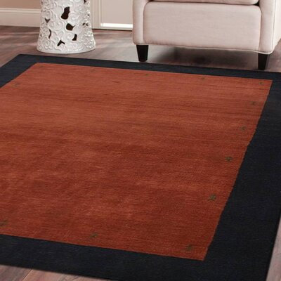 Ry Hand-Woven Wool Red/Black Area Rug Rug Size: Rectangle 8 x 11