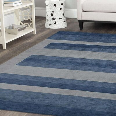 Ry Hand-Woven Wool Light Blue Area Rug Rug Size: Rectangle 9 x 12