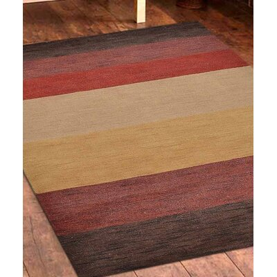 Ry Hand-Woven Wool Brown/Red Area Rug Rug Size: Rectangle 8 x 10