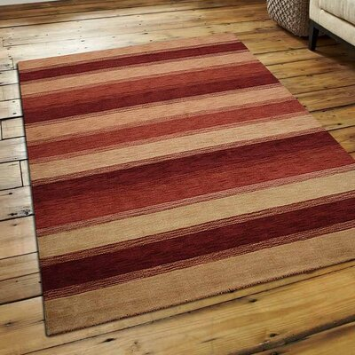 Ry Hand Knotted Loom Wool Gold Red Area Rug Rug Size: 8 x 10