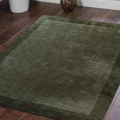 Ry Hand Knotted Loom Wool Green Area Rug Rug Size: 8 x 10