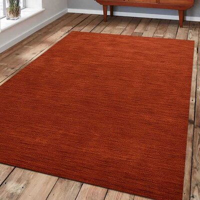 Ry Hand Knotted Loom Rectangle Wool Light Red Area Rug Rug Size: 9 x 12