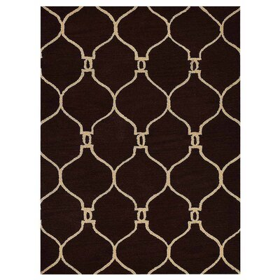 Mertine Geometric Hand Tufted Wool Beige/Black Area Rug